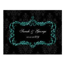 regal flourish black and aqua damask rsvp postcard