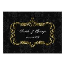 regal flourish black and gold damask invites