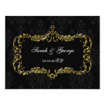 regal flourish black and gold damask rsvp card