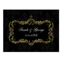regal flourish black and gold damask rsvp postcard