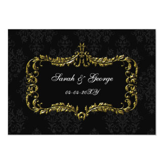 regal flourish black and gold damask save the date card