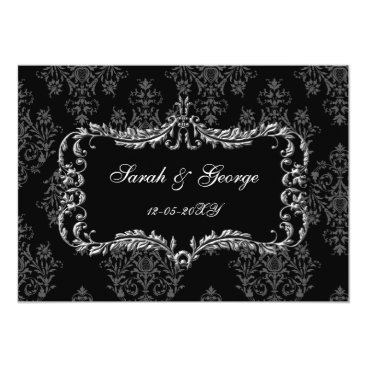 regal flourish black and gray damask invites