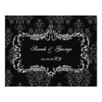 regal flourish black and gray damask rsvp card