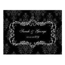 regal flourish black and gray damask rsvp postcard