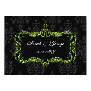 regal flourish black and green damask invites