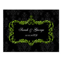 regal flourish black and green damask rsvp postcard