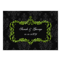 regal flourish black and green  save the date card