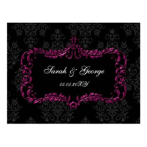 regal flourish black and pink damask rsvp postcard