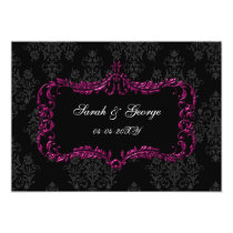 regal flourish black and pink damask save the date card