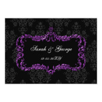 regal flourish black and purple damask invites