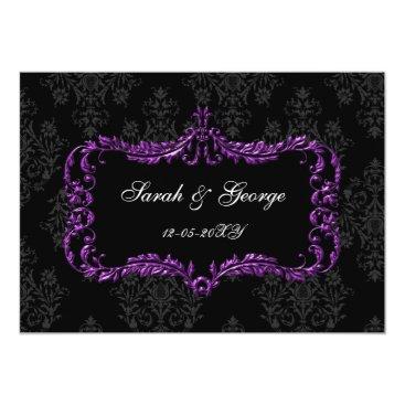 regal flourish black and purple damask invites