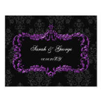 regal flourish black and purple damask rsvp card