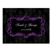regal flourish black and purple damask rsvp postcard