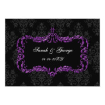 regal flourish black and purple  save the date card
