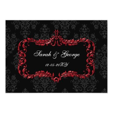 regal flourish black and red damask invites