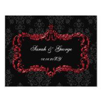 regal flourish black and red damask rsvp card