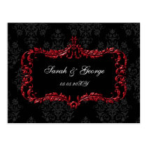 regal flourish black and red damask rsvp postcard