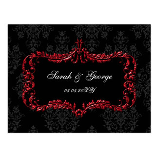 regal flourish black and red damask rsvp postcard