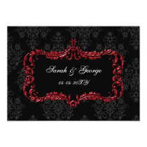 regal flourish black and red  save the date card