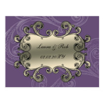 regal flourish purple thank you postcard