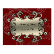 regal flourish red thank you postcard