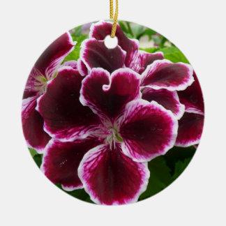 Regal Geranium Flowers Elegant Maroon Floral Ceramic Ornament