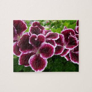 Regal Geranium Flowers Elegant Maroon Floral Jigsaw Puzzle