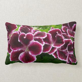 Regal Geranium Flowers Elegant Maroon Floral Lumbar Pillow