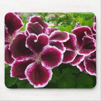 Regal Geranium Flowers Elegant Maroon Floral Mouse Pad
