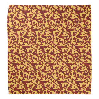 Regal Gold and Ruby Red Baroque Damask Bandanna