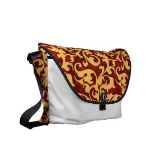 Regal Gold and Ruby Red Baroque Damask Messenger Bag
