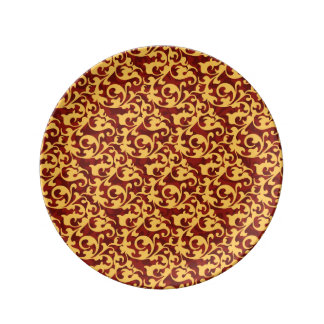 Regal Gold and Ruby Red Baroque Damask Plate