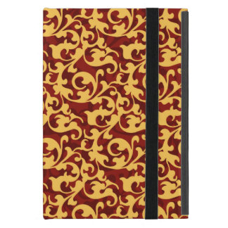 Regal Gold and Ruby Red Baroque Pattern iPad Mini Covers