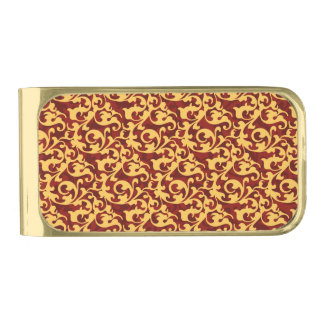 Regal Gold and Ruby Red Baroque Pattern Gold Finish Money Clip