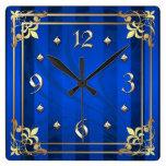 Regal Gold Filigree Blue Stripe Clock