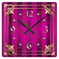 Regal Gold Filigree Pink Stripe Clock