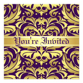 Regal Gold Metal Damask Purple Scroll Invitation