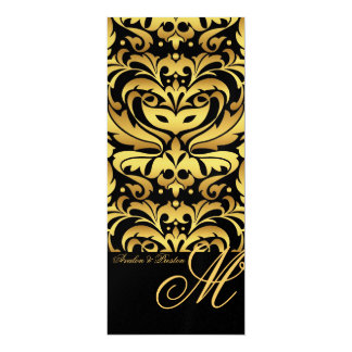 Regal Gold Monogram Damask Wedding Menu Card