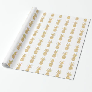 Regal Gold Pineapple Wallpaper Wrapping Paper