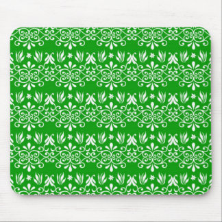 Regal Green Floral Pattern Mouse Pads