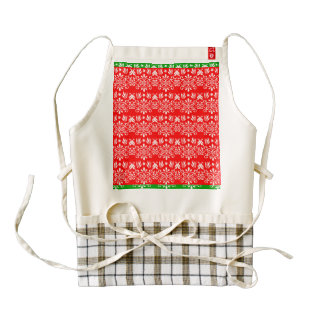 Regal Layered Green & Red Zazzle HEART Apron