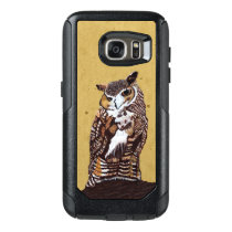 Regal Looking Owl Standing on Brown Tree Stump OtterBox Samsung Galaxy S7 Case