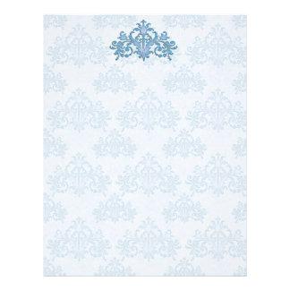 Regal Medium Blue Damask Letterhead