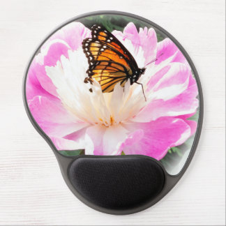 Regal Monarch butterfly resting on a peony. Gel Mouse Pad