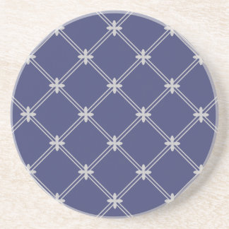 Regal Navy Blue and Silver Pattern Drink Coaster
