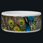 "Regal Peacock Bird with Teal and Gold Plumage Bowl<br><div class=""desc"">Original artwork of a regal peacock with his plumage on display. The iridescent tail feathers glow in shades of blue, teal, green, and purple giving this proud bird the appearance of royalty. The vibrant colors of this majestic pea fowl shine in this lifelike art that fills the entire design area....</div>"