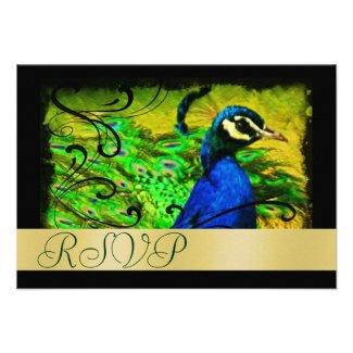 Regal Peacock Holiday Gold RSVP Invitation