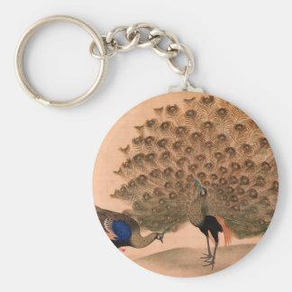 Regal Peacocks Basic Round Button Keychain