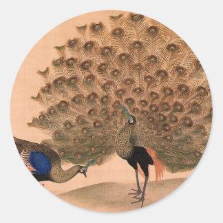 Regal Peacocks Classic Round Sticker
