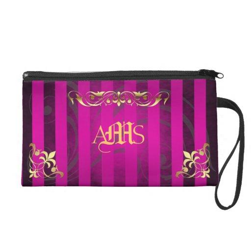 Regal Pink Monogram Gold Filigree Wristlet Bag